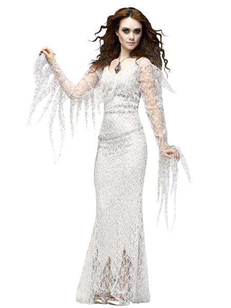 Milanoo Disfraz Halloween Holloween vampiro traje blanco de encaje Bodycon vestido para las mujeres Halloween