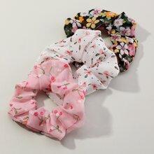 3pcs Toddler Girls Floral Pattern Scrunchie
