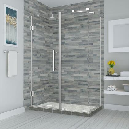 SEN967EZ-CH-723434-10 Bromley 71.25 To 72.25 X 34.375 X 72 Frameless Corner Hinged Shower Enclosure In