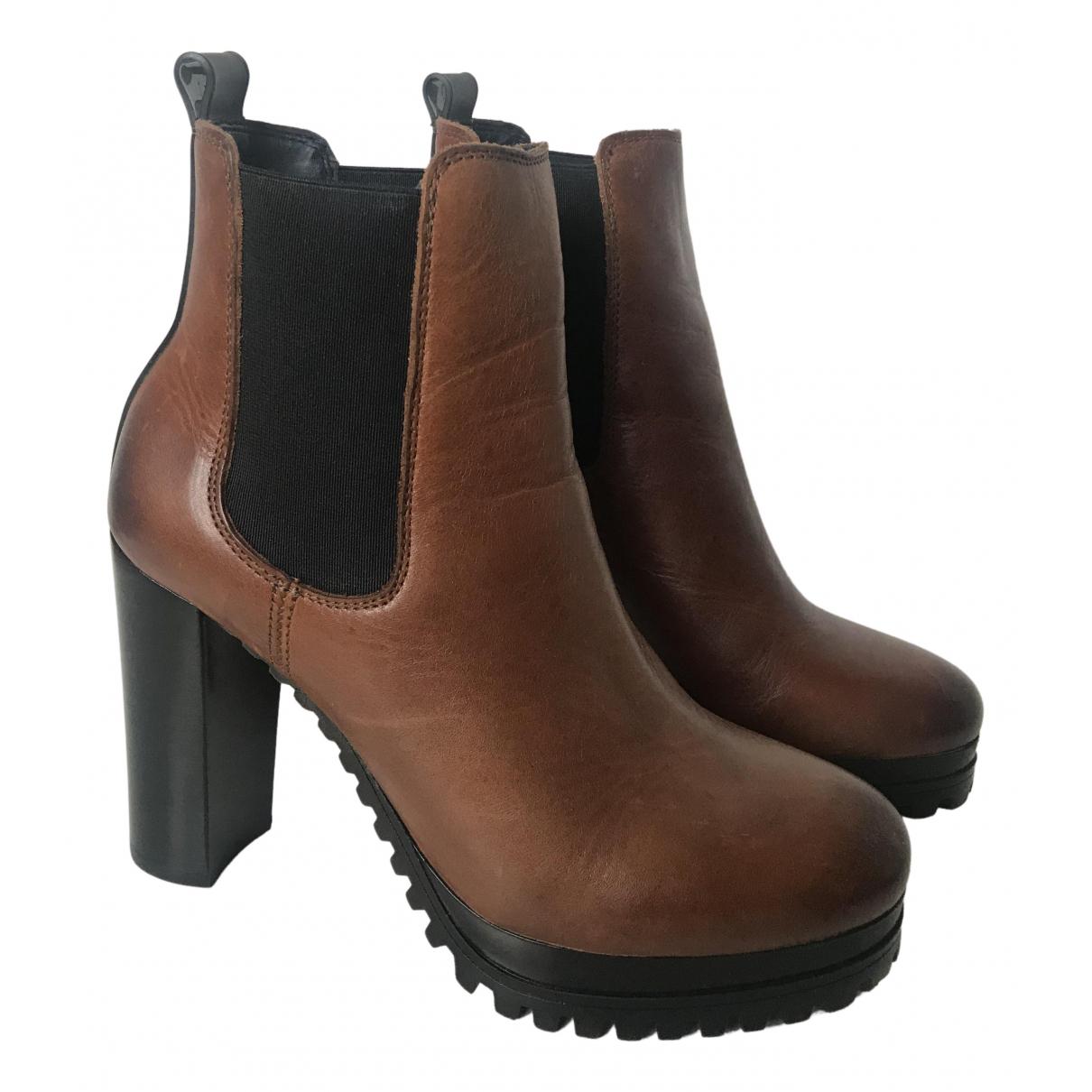 Tommy Jean - Boots   pour femme en cuir - marron