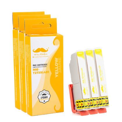 Compatible Epson T273XL420 - 273XL cartouche d'encre jaune haute capacite - Moustache - 3/paquet