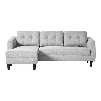 Belagio Collection MT-1019-29-L Left Facing Sofa Bed with Solid Eucalyptus Wood and Plywood Frame in Gray