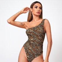 One Shoulder Leopard Bodysuit