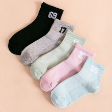 5pairs Number Pattern Socks