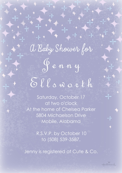 Baby Shower Invitations 5x7 Cards, Premium Cardstock 120lb with Scalloped Corners, Card & Stationery -Starry Shower - Purple