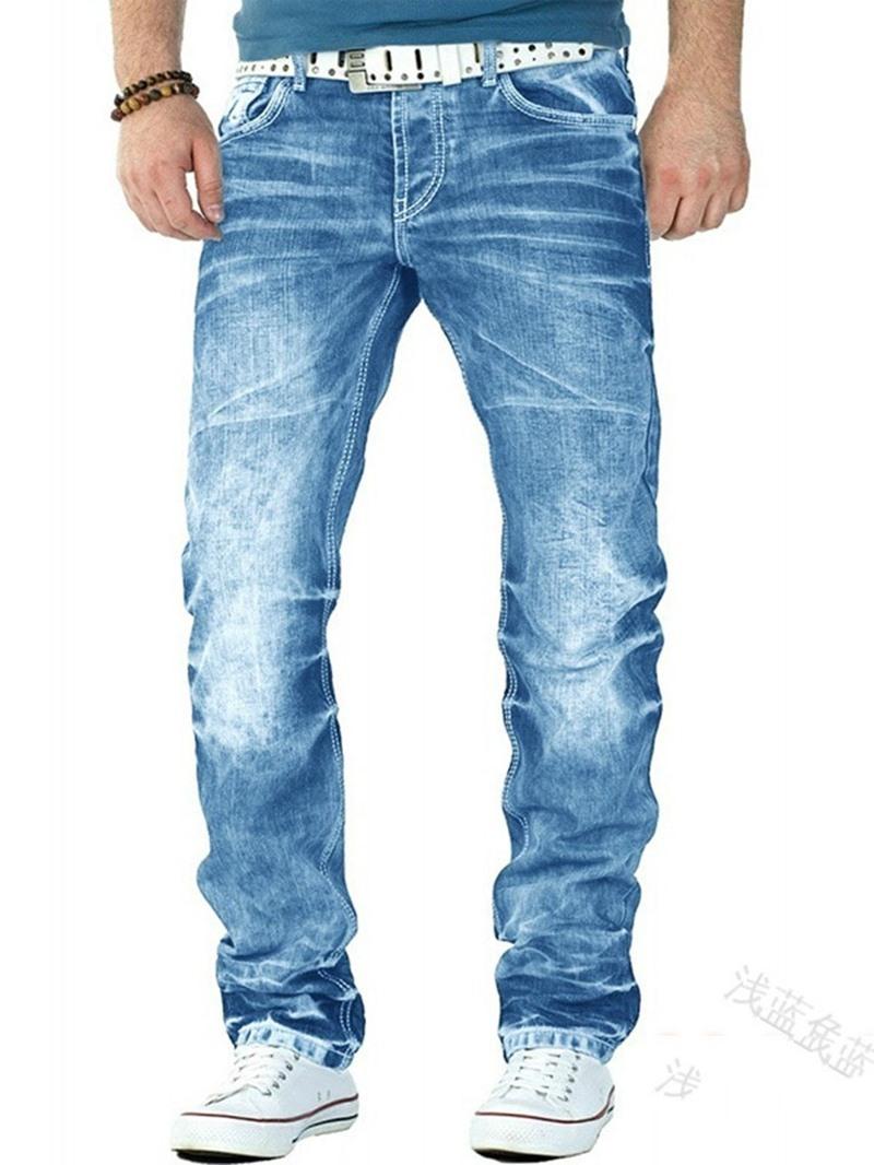 Ericdress Straight Worn Mid Waist Korean Men's Jeans