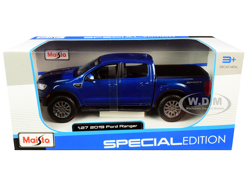 2019 Ford Ranger Lariat Sport Pickup Truck Dark Blue Metallic 1/27 Diecast Model Car by Maisto