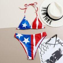 Dreieckiger Bikini Badeanzug mit Stern & Streifen Muster