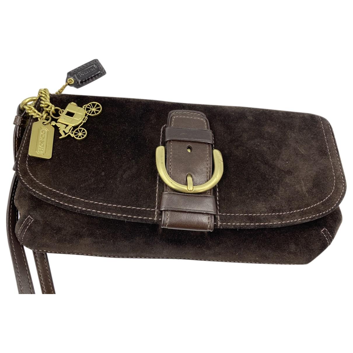 Coach N Brown Suede Clutch bag for Women N