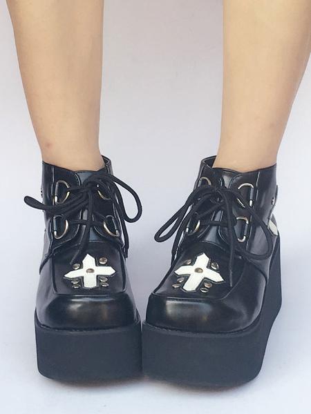 Milanoo Black Lolita Shoes Platform Lace Up Gothic Lolita Pumps