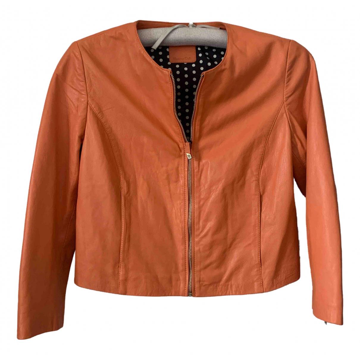Massimo Dutti - Veste   pour femme en cuir - orange