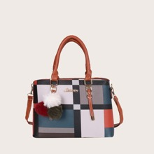 Colorblock Satchel Bag With Pom Pom