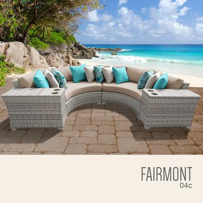 FAIRMONT-04c-WHEAT Fairmont 4 Piece Outdoor Wicker Patio Furniture Set 04c with 2 Covers: Beige and