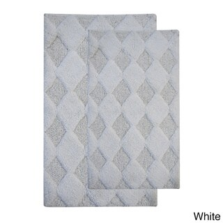 Saffron Fabs Cotton Charlotte Bath Rug (Set of 2) (21 x 34/17 x 24 - White - 24 x 17 & 34 x 21)
