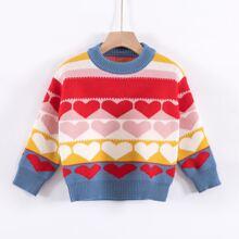 Jersey de color combinado con patron de corazon