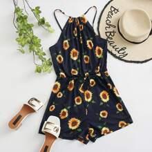 Cami Romper mit Sonnenblumen Muster