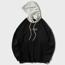 Men Letter Graphic Drawstring Drop Shoulder Hoodie