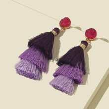 Tiered Tassel Decor Drop Earrings