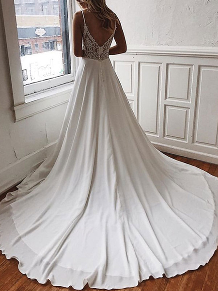 Milanoo Simple Wedding Dress A Line V Neck Sleeveless Straps Back Lace Boho Bridal Dresses With Train