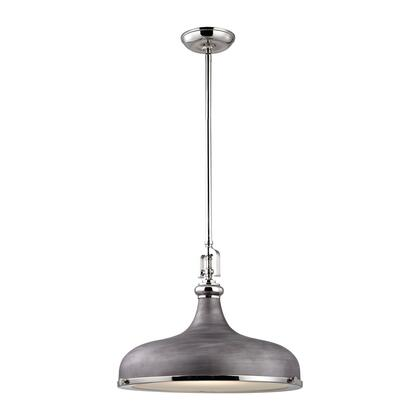 57082/1 Rutherford 1 Light Pendant in Polished Nickel/Weathered