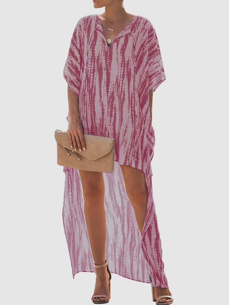 Ericdress Tie-Dye V-Neck Ankle-Length Asymmetrical Dress