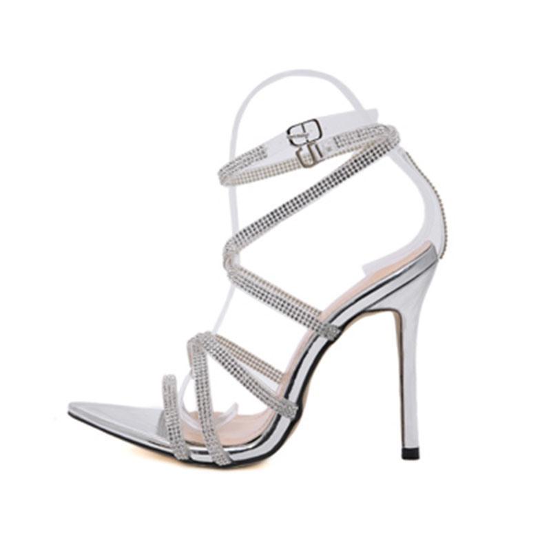 Ericdress Buckle Stiletto Heel Open Toe Rhinestone Sandals