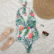 Tropical & Floral Halter One Piece Swimsuit
