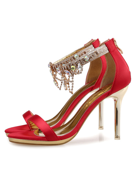Milanoo Bridal High Heel Sandals Rhinestones Ankle Strap Women's Evening Shoes