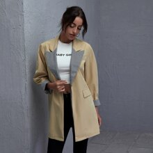 Lapel Neck Houndstooth Panel Trench Coat