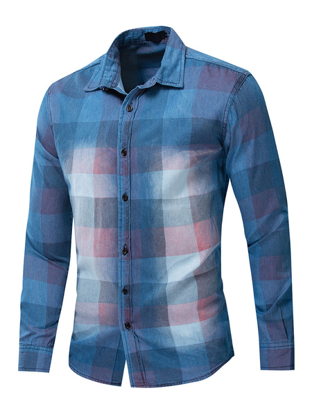 Milanoo Men\'s Regular Fit 100% Cotton Plaid Shirt In Blue