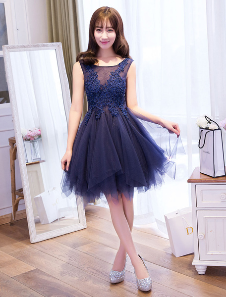 Milanoo Tulle Homecoming Dresses Lace Applique Tutu Dress Light Gray Short Prom Dress