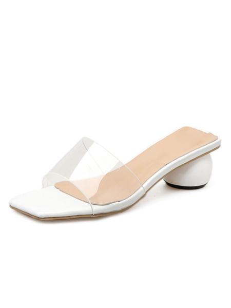 Milanoo Womens Transparente Clear Slides Perspex Heels Block Heel Slippers