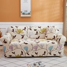 Flower Print Stretchy Sofa Cover Without Cushion
