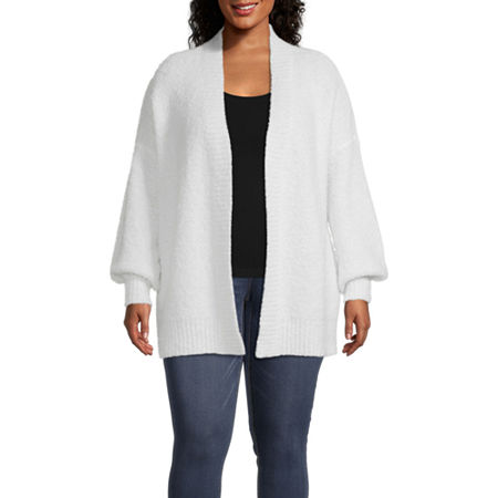 a.n.a-Plus Womens Open Front Cardigan, 1x , White