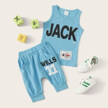 Toddler Boys Letter Graphic Tank Top With Shorts