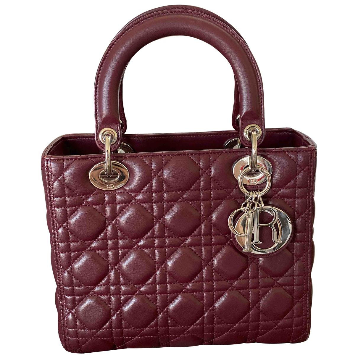 Dior Lady Dior Handtasche in  Bordeauxrot Leder