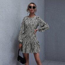 Ruffle Hem Zebra Striped Dress
