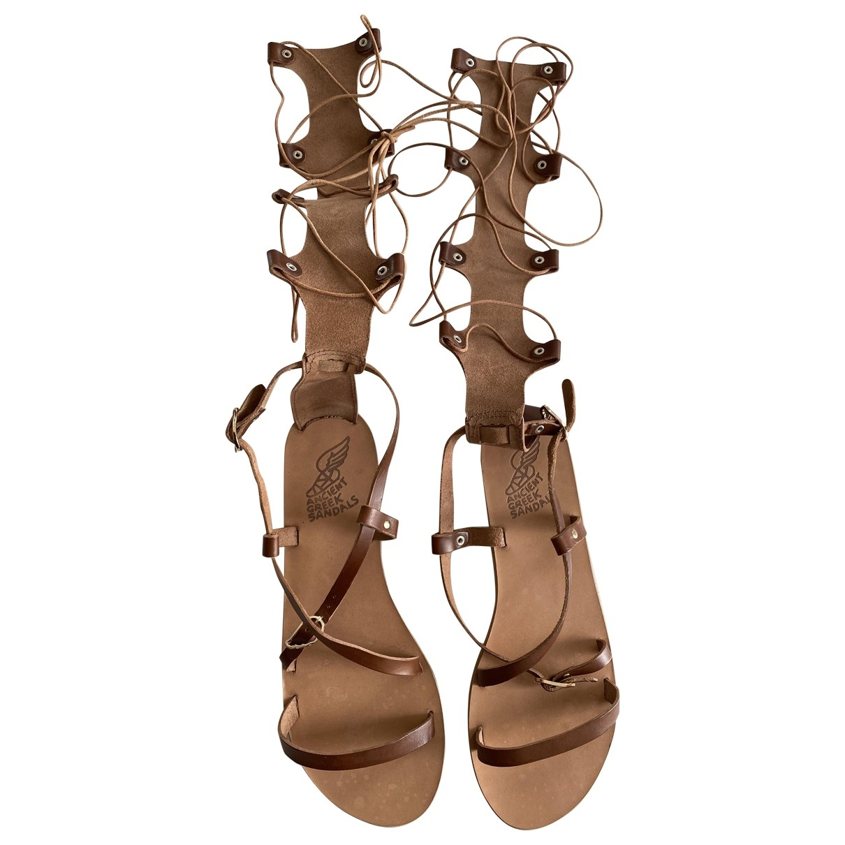 Ancient Greek Sandals - Sandales   pour femme en cuir - marron