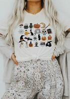 Halloween Pumpkin Skull Little Things T-Shirt Tee - White