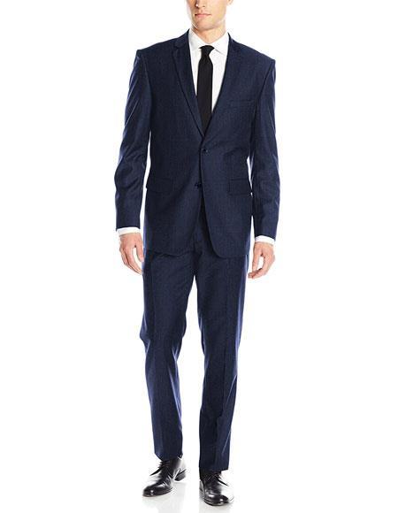 Mens Classic & Slim Fit Slate Blue 2 Button Single Notch Lapel Suits