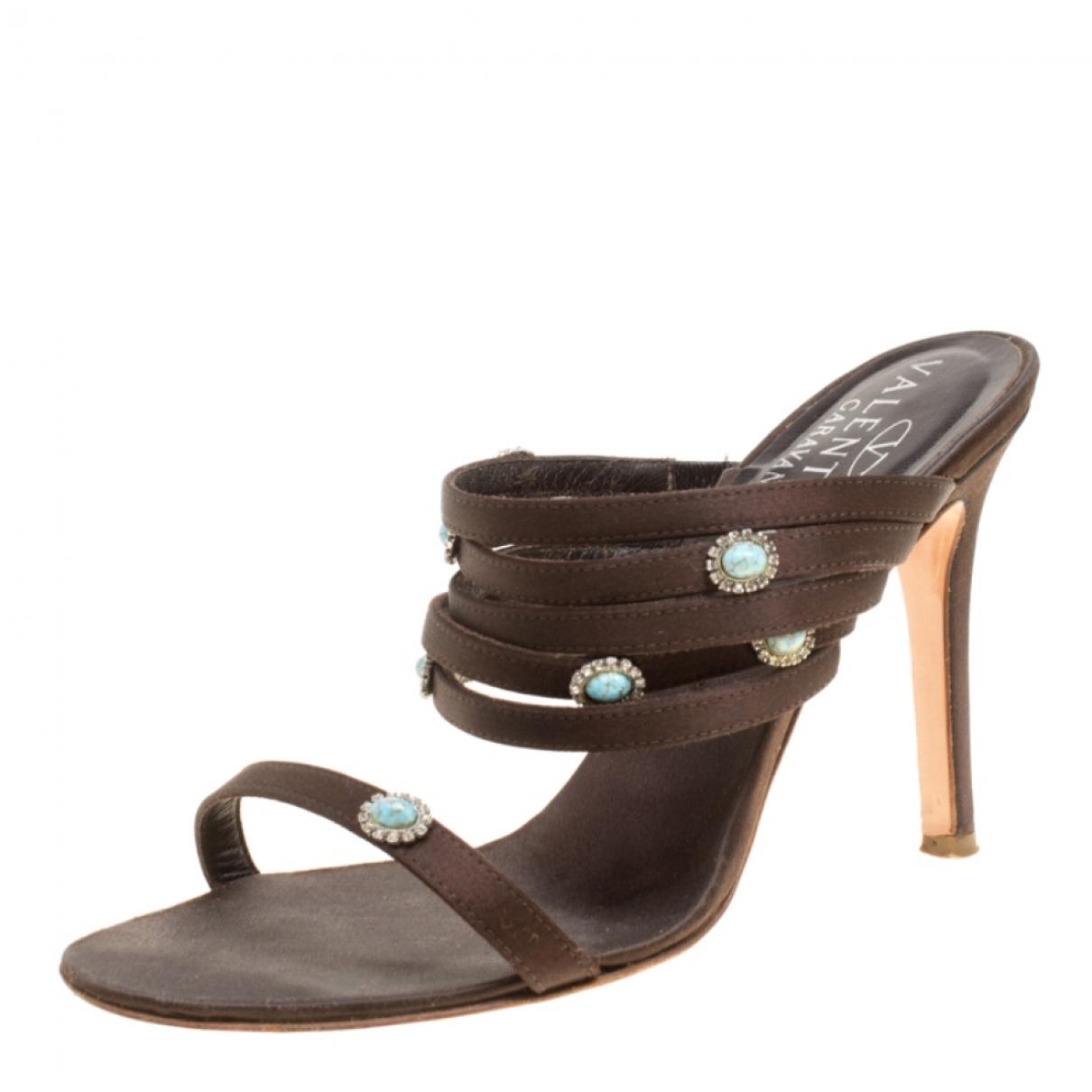 Valentino Garavani \N Brown Cloth Sandals for Women 36.5 EU