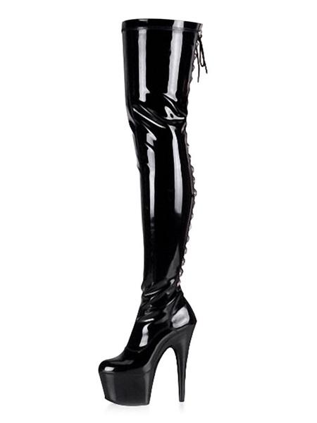Milanoo Botas sexis para mujer, punta redonda negra con cordones, tacon de aguja, botas altas hasta el muslo, botas sobre la rodilla