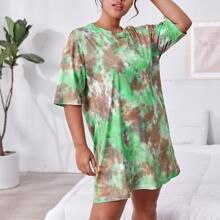Plus Tie Dye Print Drop Shoulder Night Dress
