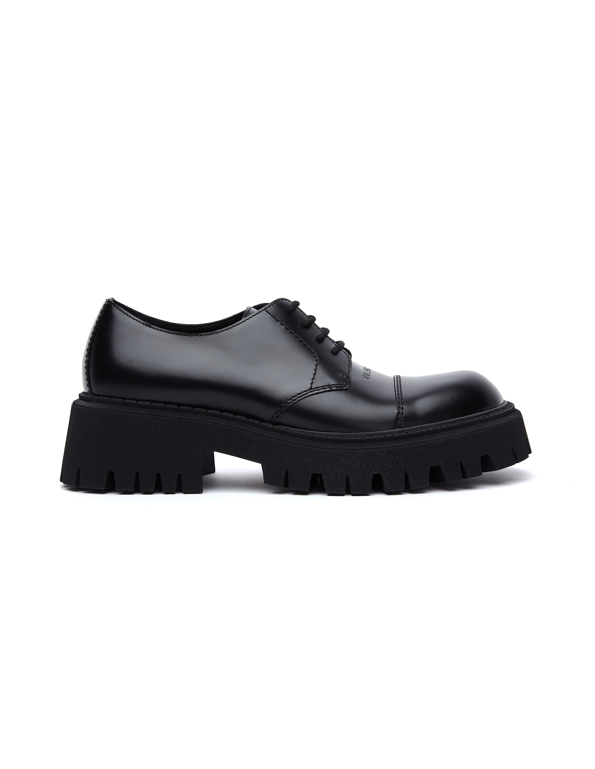 Balenciaga Black Leather Tractor Derbies