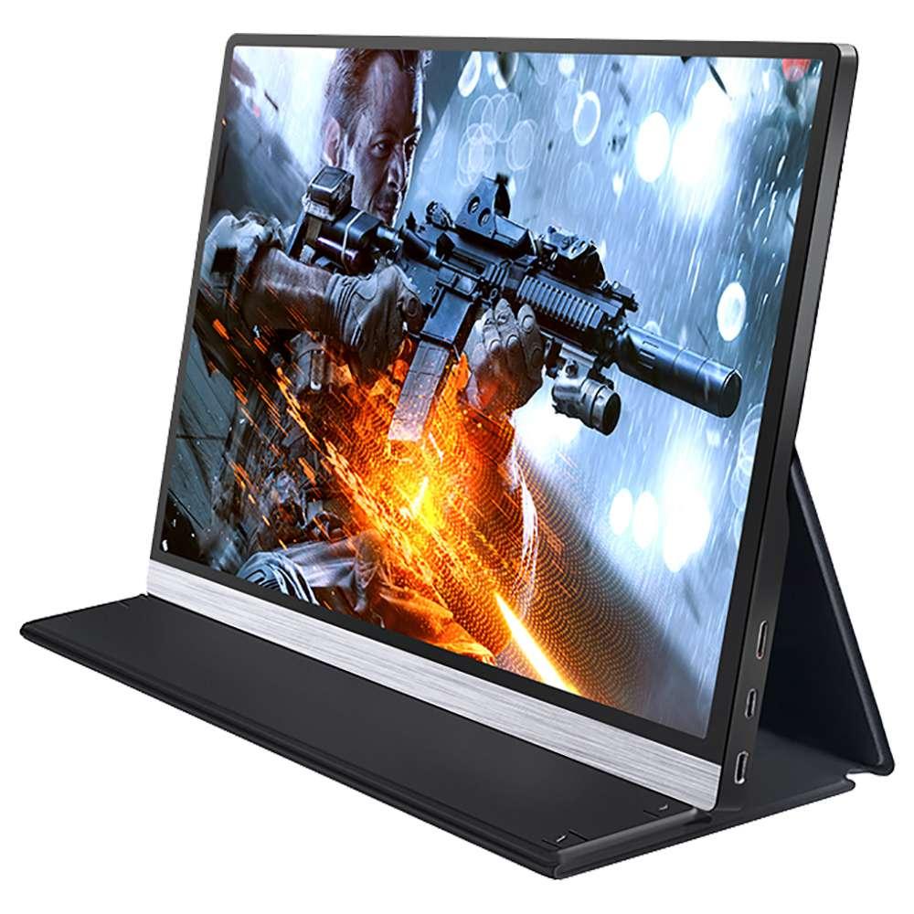 AOSIMAN ASM-156UC Portable Monitor 15.6 Inch IPS HDR 4K 3840*2160 Resolution Full Metal Body Type-C+Mini HDMI Dual Port - Black