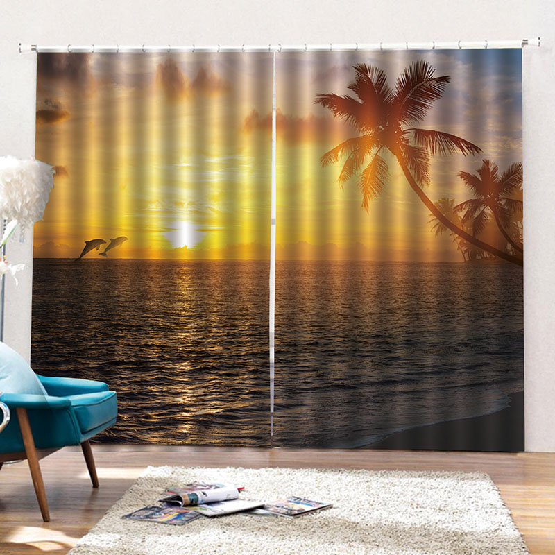 Blackout and Decorative 3D Scenery Curtains Water-Repellent Fabrics Great Shading Rate No Pilling No Fading and No off-lining
