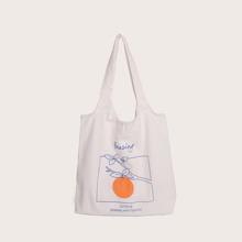 Fruit Print Canvas Shopper Bag