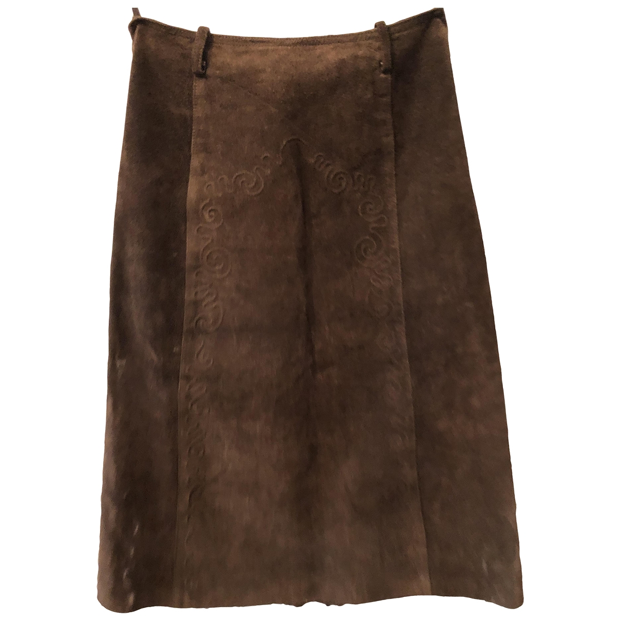 Non Signé / Unsigned \N Brown Suede skirt for Women 44 FR