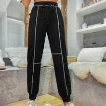 Sports Hose mit Topstitching und Kordelzug um dei Taille