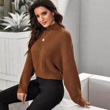 Strick Pullover mit hohem Ausschnitt